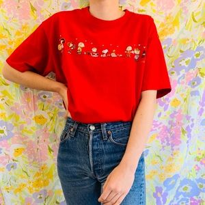 [vintage] Peanuts Valentines Day Red Love T-shirt